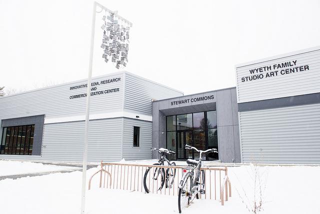 Exterior view of IMRC Center in snow